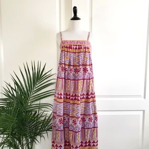 Vintage Tribal Print Cotton Maxi Dress